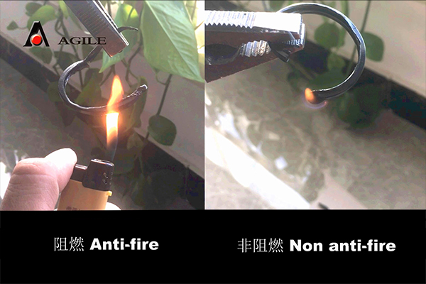 Nylon anti fire test and comparison.